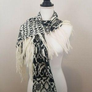FREE PEOPLE Scarf Fringe Knit Ivory and Black BOHO